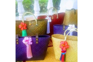 Woven Bags Made from Natural Okra Decorated with Flower