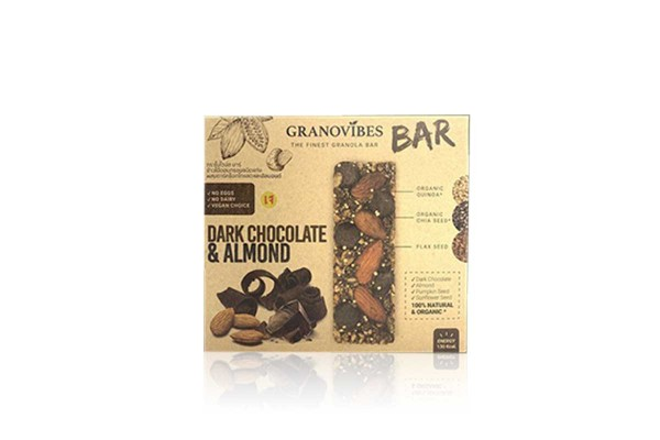 GRONOVIBES BAR, Dark Chocolate & Almond - (28 g x 6 bars)