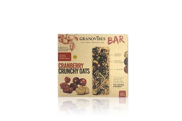 GRONOVIBES BAR, Cranberry Crunchy Oats - (28 g x 6 bars)