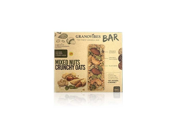 GRONOVIBES BAR, Mixed Nuts Crunchy Oats - (28 g x 6 bars)
