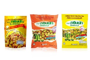 GREENNUT, Crunchy Green Pea Snack Coated with Shrimp & Squid Flavors